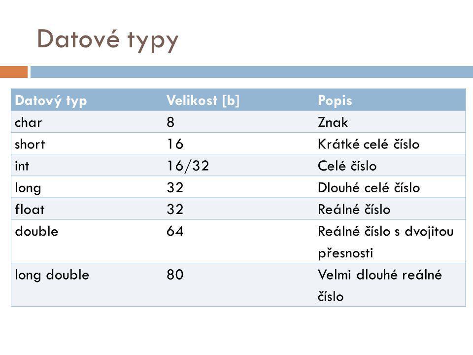 Datové typy Datový typ Velikost [b] Popis char 8 Znak short 16